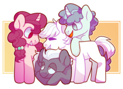 Size: 1425x1035 | Tagged: safe, artist:geisharozu, double diamond, night glider, party favor, sugar belle, earth pony, pegasus, pony, unicorn, equal four, female, male, mare, simple background, stallion, transparent background