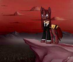 Size: 2560x2160 | Tagged: artist:thepascaal, changeling, changeling oc, cliff, clothes, cloud, moth, mothling, mountain, oc, oc:red flux, original species, red changeling, red sky, safe, scenery, suit