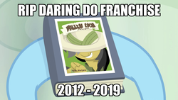 Size: 1024x576   Tagged: safe, edit, edited screencap, screencap, daring do, rainbow dash, daring doubt, 2012, 2019, book, caption, daring do and the fallen idol, daring do books, end of ponies, image macro, press f to pay respects, rest in peace, text
