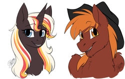 Size: 1280x811 | Tagged: safe, artist:its-gloomy, oc, oc only, oc:calamity, oc:velvet remedy, pegasus, pony, unicorn, fallout equestria, bust, cowboy hat, dashite, fanfic, fanfic art, female, grin, hat, horn, male, mare, open mouth, portrait, simple background, smiling, stallion, white background, wings