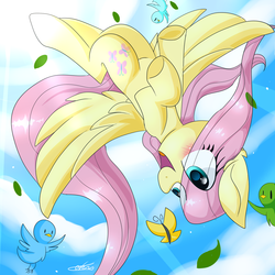 Size: 3000x3000 | Tagged: artist:dddreamdraw, bird, butterfly, crepuscular rays, eye clipping through hair, female, fluttershy, flying, mare, open mouth, outdoors, pegasus, pony, safe, sky, smiling, solo, spread wings, upside down, wings