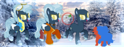 Size: 4000x1530 | Tagged: artist:kk-vantas, boots, clothes, collar, female, goggles, jacket, mare, markings, oc, oc only, oc:snow patrol, open mouth, pegasus, pony, raised hoof, raised leg, reference sheet, safe, shoes, snow, socks, solo, tree, uniform, wonderbolts, wonderbolt trainee uniform