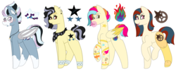 Size: 1024x407 | Tagged: amputee, artist:midnightamber, bandana, bat pony, bat pony oc, bubblegum, commission, ear piercing, earring, earth pony, eyebrow piercing, eyeshadow, female, food, gum, jewelry, lip piercing, makeup, mare, markings, multicolored hair, neckerchief, necklce, oc, oc:neon flames, oc:night roller, oc only, oc:smooth oak, oc:star slide, pegasus, piercing, pony, prosthetic leg, prosthetic limb, prosthetics, raised hoof, raised leg, safe, scar, simple background, skull, tattoo, tongue out, tooth, transparent background