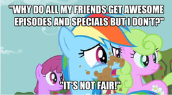 Size: 642x356 | Tagged: berry punch, berryshine, caption, crying, daisy, edit, edited screencap, flower wishes, image macro, op is a duck, op isn't even trying anymore, op is trying to start shit, pony, rainbow dash, sad, safe, screencap, text