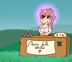 Size: 1058x902 | Tagged: safe, artist:lazerblues, oc, oc only, oc:arbor, satyr, bath water, belle delphine, floral head wreath, flower, offspring, parent:fluttershy, solo