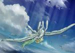 Size: 5897x4113 | Tagged: safe, artist:nikameowbb, vapor trail, fly, pegasus, pony, sea pony, angel, commission, digital art, female, flight, flying, full body, light, sky, solo