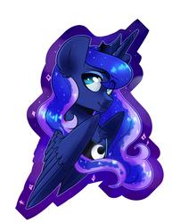 Size: 2975x3850   Tagged: safe, artist:annakitsun3, princess luna, alicorn, pony, bust, chest fluff, eye clipping through hair, female, jewelry, lidded eyes, mare, peytral, portrait, regalia, smiling, solo, spread wings, wings
