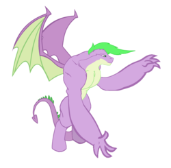 Size: 1456x1424 | Tagged: derpibooru exclusive, dracony, dragon, edit, editor:proto29, hybrid, male, muscles, older, older spike, race swap, safe, simple background, solo, species swap, spike, transformation, white background, winged spike