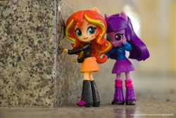 Size: 6016x4012 | Tagged: safe, artist:artofmagicpoland, sunset shimmer, twilight sparkle, alicorn, equestria girls, attack, behind you, doll, equestria girls minis, eqventures of the minis, female, irl, katowice, patriotic, photo, poland, silesian uprising, toy, train station, twilight sparkle (alicorn)