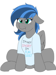 Size: 768x1024 | Tagged: angry, artist:littlebibbo, clothes, ear down, female, floppy ears, freckles, mare, oc, oc:bibbo, pegasus, pony, safe, shirt, simple background, sitting, :t, t-shirt, wings