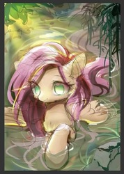 Size: 446x626 | Tagged: safe, artist:leafywind, fluttershy, pegasus, pony, female, mare, solo, water