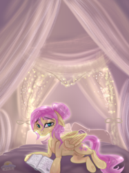 Size: 592x790 | Tagged: alternate hairstyle, artist:laurabaggins, bed, book, female, floppy ears, fluttershy, hair bun, lidded eyes, looking at you, mare, pegasus, pony, prone, safe, signature, solo