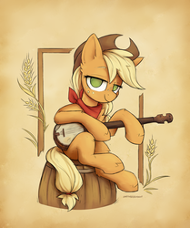 Size: 2262x2700 | Tagged: applejack, artist:anotherdeadrat, bandana, banjo, barrel, colored, digital art, earth pony, female, mare, musical instrument, pony, safe, signature, sitting, smiling, solo