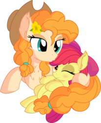Size: 6545x7934 | Tagged: safe, artist:cyanlightning, apple bloom, pear butter, earth pony, pony, .svg available, absurd resolution, adorabloom, apple bloom's bow, bow, cute, duo, eyes closed, female, filly, forehead kiss, hair bow, hat, holding, hug, kissing, lidded eyes, mare, mother and daughter, motherly, simple background, sitting, transparent background, vector
