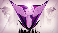 Size: 3840x2180 | Tagged: alicorn, artist:drakesparkle44, canterlot, concentrating, eyes closed, female, looking down, magic, mare, particles, profile, safe, silhouette, spread wings, twilight sparkle, twilight sparkle (alicorn), vector, wallpaper, wings