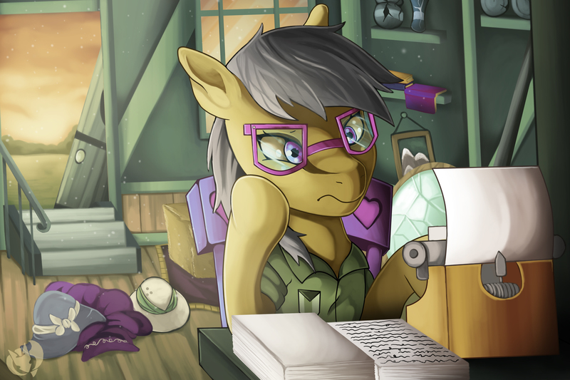 Size: 3600x2400 | Tagged: safe, artist:kenisu-of-dragons, a.k. yearling, daring do, pegasus, pony, a.k. yearling's cottage, book, clothes, door, dress, featured image, female, glasses, hat, high res, hoof on chin, open door, paper, solo, thinking, typewriter, watermark