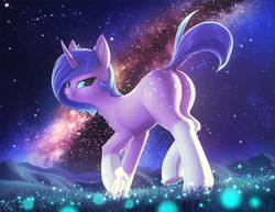 Size: 1650x1275 | Tagged: alternate version, artist:shydale, butt, dappled, dock, ear fluff, female, galaxy, looking back, mare, night, night sky, oc, oc only, oc:startrail, plot, pony, raised hoof, raised tail, safe, scenery, scenery porn, sky, smug, socks (coat marking), solo, solo female, spots, stars, tail, unicorn