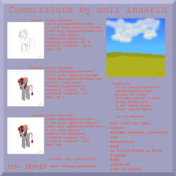 Size: 4000x4000 | Tagged: safe, artist:onil innarin, oc, oc only, pony, advertisement, commission info