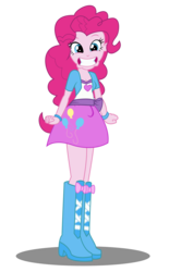 Size: 2037x3278 | Tagged: artist:remcmaximus, boots, breasts, cleavage, clothes, cute, equestria girls, female, high heel boots, high res, human, looking at you, miniskirt, nervicited, pinkie pie, safe, shoes, simple background, skirt, smiling, solo, transparent background, vector