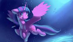 Size: 4350x2500 | Tagged: absurd res, alicorn, artist:auroriia, bubble, female, holding breath, mare, pony, safe, solo, swimming, twilight sparkle, twilight sparkle (alicorn), underwater, updated
