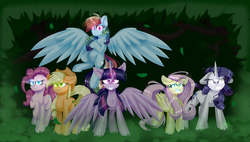 Size: 6000x3400 | Tagged: absurd res, alicorn, artist:redheartponiesfan, clone, clone six, earth pony, female, glowing eyes, looking at you, mare, mean applejack, mean fluttershy, mean pinkie pie, mean rainbow dash, mean rarity, mean six, mean twilight sparkle, messy mane, pegasus, pony, safe, simple background, spread wings, the mean 6, wings