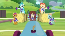 Size: 1920x1080 | Tagged: safe, screencap, lighthoof, ocellus, shimmy shake, smolder, yona, 2 4 6 greaaat, cheerleader, cheerleader ocellus, cheerleader outfit, cheerleader smolder, cheerleader yona, clothes, field, hay, hay bale, oh crap, oh no, outdoors, party cannon, pleated skirt, pom pom, ponytail, skirt, uh oh