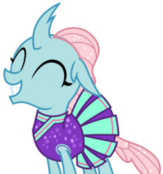 Size: 2222x2372 | Tagged: 2 4 6 greaaat, adorable face, artist:sketchmcreations, changedling, changeling, cheerleader, cheerleader ocellus, cheerleader outfit, clothes, cute, cuteling, diaocelles, eyes closed, female, grin, ocellus, safe, simple background, smiling, spoiler:s09e15, transparent background, vector