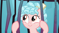 Size: 1280x720 | Tagged: bow, cage, cozybetes, cozy glow, curly hair, cute, female, filly, foal, freckles, hair bow, looking up, pegasus, pony, prisoner cozy glow, safe, school raze, tartarus, wanna be friends?