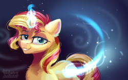 Size: 2343x1468 | Tagged: safe, artist:teaflower300, sunset shimmer, pony, unicorn, chest fluff, cutie mark, ear fluff, female, glowing horn, horn, lidded eyes, looking at you, magic, mare, raised eyebrow, smiling, solo