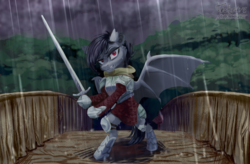 Size: 2000x1312 | Tagged: armor, artist:teaflower300, bat pony, bat pony oc, bipedal, bridge, clothes, commission, forest, hoof hold, looking at you, notched ear, oc, oc only, one wing out, pony, rain, safe, semi-anthro, solo, sword, weapon, wings