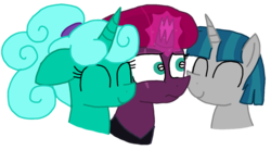 Size: 1467x811 | Tagged: safe, artist:徐詩珮, fizzlepop berrytwist, glitter drops, stygian, tempest shadow, pony, unicorn, alternate hairstyle, bisexual, broken horn, female, glittergian, glittershadow, glittershadowgian, horn, lesbian, male, mare, nuzzling, polyamory, shipping, simple background, straight, tempgian, transparent background