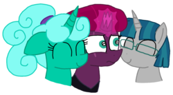 Size: 1475x813 | Tagged: alternate hairstyle, alternate version, artist:徐詩珮, bisexual, broken horn, female, fizzlepop berrytwist, glasses, glitter drops, glittergian, glittershadow, glittershadowgian, horn, lesbian, male, mare, nuzzling, polyamory, safe, shipping, simple background, straight, stygian, tempest shadow, tempgian, transparent background, unicorn, vector