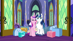 Size: 1280x720 | Tagged: accessory-less edit, alicorn, artist:chainchomp2 edit, barehoof, edit, edited screencap, editor:slayerbvc, female, hoof around neck, luggage, male, mare, missing accessory, pony, princess cadance, safe, screencap, shining armor, shiningcadance, shipping, simple background, stallion, straight, suitcase, the one where pinkie pie knows, twilight's castle, unicorn, vector, vector edit
