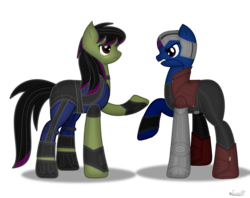 Size: 1180x936 | Tagged: artist:99999999000, clothes, female, gamora, guardians of the galaxy, marvel, nebula (marvel), ponified, pony, safe, simple background