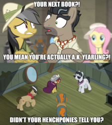 Size: 890x988 | Tagged: ascot, biff, cape, caption, clothes, continuity error, daring do, daring don't, daring doubt, doctor caballeron, earth pony, edit, edited screencap, female, fluttershy, glasses, hat, henchmen, male, mare, meme, pegasus, pith helmet, pony, rainbow dash, rogue (character), safe, scarf, screencap, spoiler:s09e21, stallion, sunglasses, text, text edit