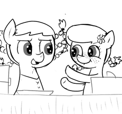 Size: 640x600 | Tagged: artist:ficficponyfic, booth, box, braided pigtails, colt quest, cute, cyoa, earth pony, excited, female, filly, flower, foal, freckles, lip bite, market, monochrome, oc, oc:praline, oc:ruby rouge, pony, safe, story included, table, vendor, vendor stall
