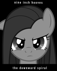 Size: 1200x1487 | Tagged: safe, pinkie pie, earth pony, pony, angry, black background, female, grayscale, looking at you, mare, monochrome, nine inch nails, parody, pinkamena diane pie, poster, poster parody, simple background, solo, text, the downward spiral, vector
