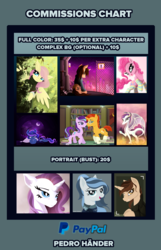 Size: 1500x2330 | Tagged: advertisement, alicorn, artist:pedrohander, commission, commission info, earth pony, fluttershy, oc, oc:gray compass, pegasus, pinkie pie, pony, price sheet, princess luna, rarity, safe, starlight glimmer, sunburst, unicorn
