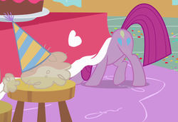 Size: 1170x801 | Tagged: cake, chair, cropped, earth pony, female, flour, food, hiding, madame leflour, mare, party of one, pinkamena diane pie, pinkie pie, safe, screencap, season 1, solo, table, under the table