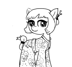 Size: 640x600 | Tagged: artist:ficficponyfic, clothes, colt quest, cyoa, female, hair bun, kimono (clothing), mare, monochrome, oc, oc:sushi, pony, safe, solo, spy, story included, tail wrap