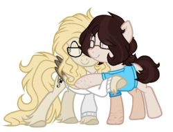 Size: 736x561 | Tagged: artist:mintoria, clothes, female, glasses, hug, mare, oc, oc:dusty, oc only, pegasus, pony, safe, simple background, sweater, transparent background