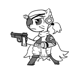 Size: 640x600 | Tagged: artist:ficficponyfic, boots, clothes, colt quest, crossover, ear piercing, earring, eyepatch, gun, handgun, jewelry, metal gear, metal gear solid, metal gear solid 5, oc, oc:ruby rouge, piercing, pistol, ponified, pony, punished snake, safe, scar, scarf, shoes, weapon