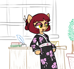Size: 640x600 | Tagged: artist:ficficponyfic, clothes, color, colored, color edit, colt quest, cyoa, edit, editor needed, female, hair bun, kimono (clothing), mare, monochrome, oc, oc:sushi, pony, safe, solo, spy, story included, tail wrap