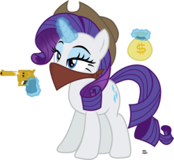 Size: 2192x2016 | Tagged: artist:anime-equestria, bandana, cowboy hat, cowgirl, eyeshadow, glowing horn, gun, handgun, hat, horn, magic, makeup, money bag, rarity, revolver, safe, simple background, solo, transparent background, unicorn, vector, weapon, wild west