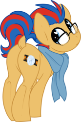 Size: 1280x1929 | Tagged: artist:kellythedrawinguni, butt, clothes, cute, digital art, dock, earth pony, glasses, heart eyes, looking at you, looking back, looking back at you, male, oc, oc only, oc:soundwave, plot, pony, raised tail, safe, scarf, simple background, solo, stallion, tail, transparent background, wingding eyes