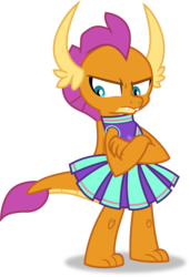 Size: 1309x1917 | Tagged: 2 4 6 greaaat, artist:frownfactory, cheerleader, cheerleader smolder, clothes, crossed arms, dragon, dragoness, female, frown, horns, pleated skirt, safe, simple background, skirt, smolder, solo, spoiler:s09e15, svg, .svg available, transparent background, vector, wings