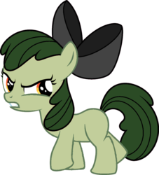 Size: 852x938 | Tagged: angry, apple bloom, artist:yetioner, bow, cutie mark creeps, earth pony, edit, editor:undeadponysoldier, elements of insanity, female, filly, francie bloom, pony, recolor, safe, simple background, solo, transparent background, vector, vector edit