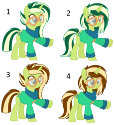 Size: 3528x3856 | Tagged: alternate hairstyle, artist:razorbladetheunicron, base used, clothes, female, glasses, lateverse, mare, oc, oc:keyana crust, oc only, offspring, options, parent:limestone pie, parents:limin', parent:soarin', pony, safe, simple background, solo, sweater, transparent background, unicorn