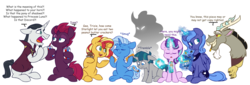Size: 6808x2324 | Tagged: artist:chub-wub, chancellor neighsay, crackers, dialogue, discord, eyes closed, fizzlepop berrytwist, food, gee bill, levitation, magic, peanut butter, peanut butter crackers, pony, pony of shadows, princess luna, s1 luna, safe, snacks, starlight glimmer, stygian, sunset shimmer, telekinesis, tempest shadow, trixie, unicorn, vein bulge