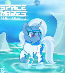 Size: 2000x2250 | Tagged: arm cannon, artist:theretroart88, clothes, fantasy, female, high res, ice, mare, part of a series, part of a set, planet, pony, raised hoof, safe, solo, space mares, stars, trixie, unicorn, water